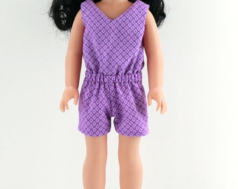 "14in Doll Clothes - 14.5"" Doll Purple Romper - 14in Doll Clothes - 14.5 inch AG Wellie Romper- Also fits H4H dolls"