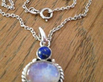 Labradorite and Lapis Pendant Necklace