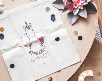 Tote Bag Unicorn Namaste, Yoga, Unicorn, tote bag, beige, natural, organic cotton