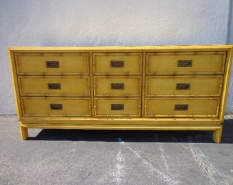 Exceptional Dresser Faux Bamboo Bedroom Media Console Chest Drawers Storage Regency  Chinoiserie Boho Chic Campaign Mid Century Photo