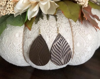 Large Leather Teardrop Essential Oil Diffuser Earrings - Gold Hook Style