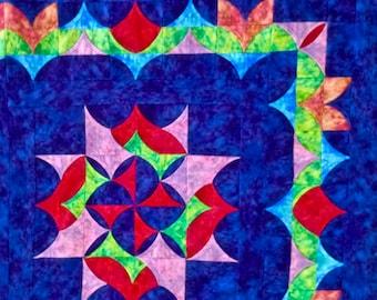 "Batik Patchwork Quilt Top  57"" x 72"