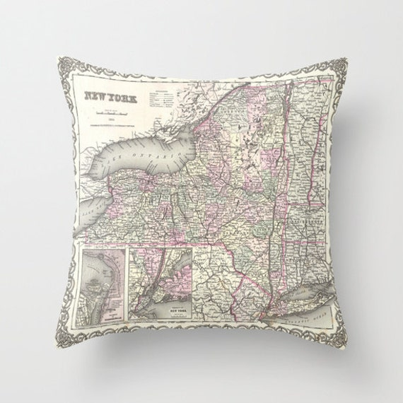 Antique New York Map Throw Pillow, Vintage Map Pillow, Old New York Map Decorative Pillow, Office Pillow, Office Decor, Geography, Dorm