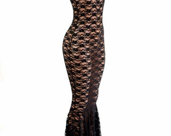 Sheer Black Lace See Through Sleeveless Mock Turtle Neck Gown with Puddle Train 154458