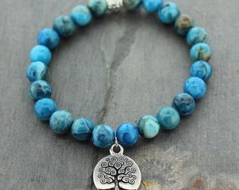 Tree of Life Lace Agate Mala Bracelet