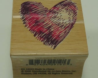 Scribble Heart Wood Mounted Rubber Stamp By JoAnne Craft Valentine, Love, Engagement, Wedding, Shower, Marriage, Anniversary
