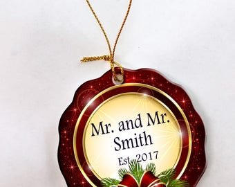 Personalized 1st Christmas as Mr. & Mr. Christmas Ornament
