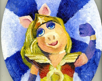 "Wonder Pig 12x16"" Oval Canvas Acrylic Painting"