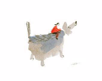 dog painting PRINT, dog print, gift for dog lover, childrens illustration print for kids room, wall art
