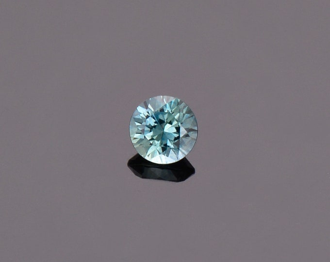 Bright Blue Green Sapphire Gemstone from Montana, Round, 0.57 cts., 4.8 mm.