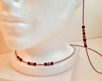 Matching necklace w/ eyeglass chain Mauve & chocolate cube beads Environmentally friendly Mothers Day Birthday  gift Handmade in USA Reader