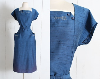 Vintage 1950s Dress | vintage 50s metal stud arrows dress | silk dupioni pockets belt blue | L/XL large lg