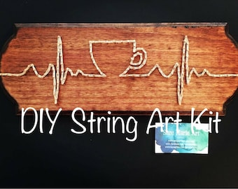 String art ekg etsy diy coffee string art kit cup pulse thread art step by step do solutioingenieria Images
