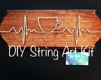 String art ekg etsy diy coffee string art kit cup pulse thread art step by step do solutioingenieria Image collections
