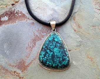Turquoise Pendant on Leather Cord in Sterling Silver RF174