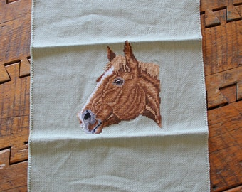 vintage needlepoint cross stitch horse head for crafts