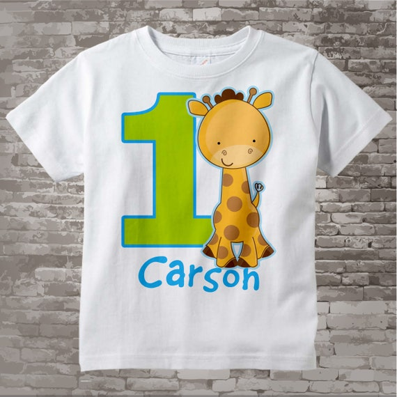 Personalized FIrst Birthday Giraffe Tee Shirt Or Onesie With