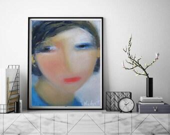 "Abstract art painting female face figurative small original oil canvas 8""x10"", modern art, fashion art, giclee fine art print fine artwork"