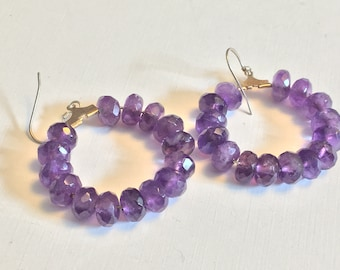 Amethyst beaded earrings with 925 sterling wire   VJSE