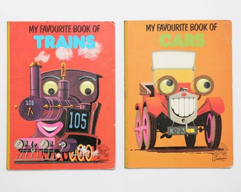 Vintage pair of board books My Favourite Book of Trains/Cars, with novelty googly eye detail, by Grandreams.