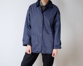 90s reversible jacket rain jacket coat blue quilted S M 36 38 40