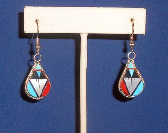 Earrings Sterling Silver Zuni Inlay With Mother of Pearl, Turquoise, Coral, Jet, Pipestone Artist Signed WCN Southwestern Jewelry