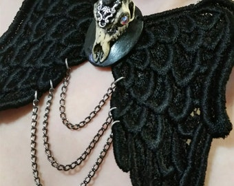 The Last Unicorn -Unicorn Skull Necklace- Black Lace Pegasus Wings Choker