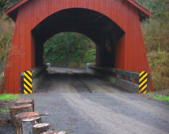 Yachats Covered Bridge - Oregon - Country - Travel - Bridge - Red - Gift  - Wall Art - Home Decor - Father's Day - Renfro Photography