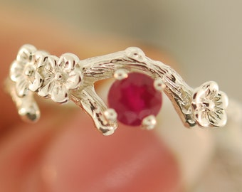 Cherry Blossom Ruby Ring, twig ring, silver twig ring, branch ring, alternative wedding ring