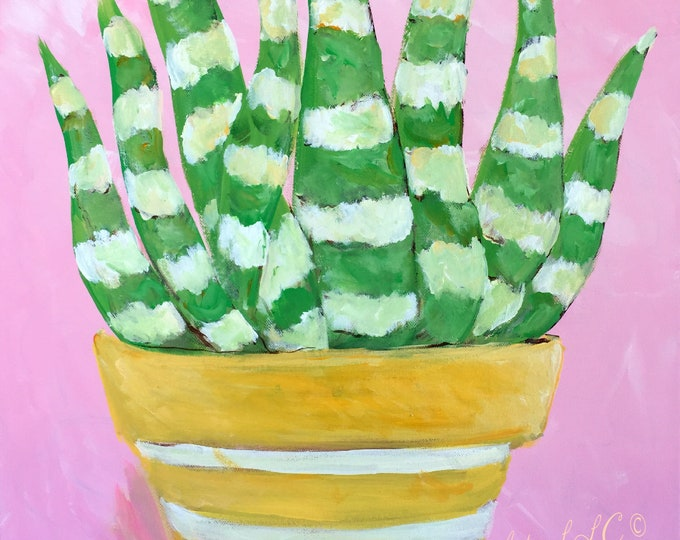 Aloe Vera Painting | Pink Background Aloe Vera Painting | Art Prints