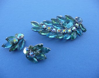 Vintage 1950's Weiss Pin Brooch & Earrings ~ Clip On Earrings ~ Sparkling  Turquoise Blue And Green Stones, Silvertone ~ Great Condition