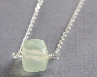 Prehnite Little Rock Necklace- or choose your stone