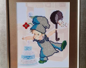 "Picture beaded "" The Little Cook"", Idea for present"