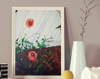 Original 16x20 Poppy Flowers Acrylic Painting Wall Art