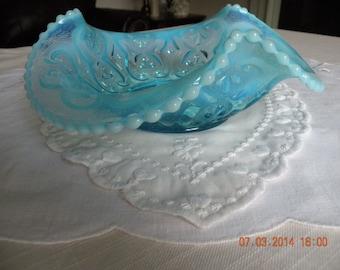 "Fenton Opalescent ""String of Pearl"" Blue Bon Bon Dish"
