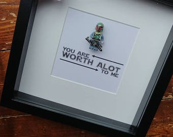 Shadow Box Frame//Star Wars//Boba Fett//Minifigures//Gift//Personalise//Geek//Love//Anniversary//Birthday//Worth alot to me//Fathers Day