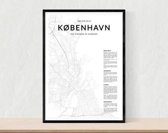 Copenhagen map print, City map of Copenhagen, Copenhagen map wall art, Copenhagen wall art, Copenhagen poster, Copenhagen map poster