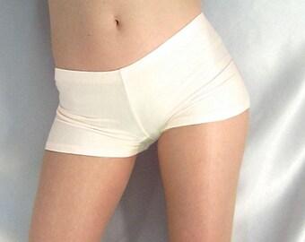 Ivory spandex micro shorts hot pants