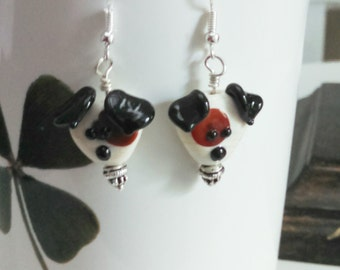 Lampwork Dog Bead Earrings featuring Tricolor Terrier