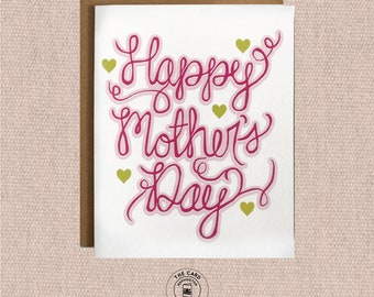 Mothers Day Card, Card for Mom, Happy Mothers day gift Hand Lettered card for mom Mothers day card from daughter Typography Gift for mom