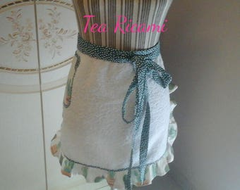 Half white Terry apron with fantasy of cactus in green