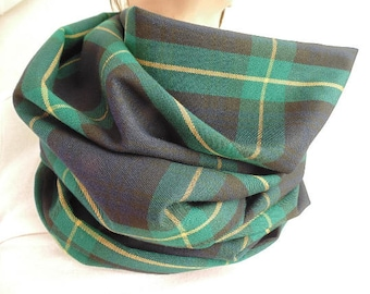 Blue and Green Tartan Plaid Scarf, Oversized Scarf, Navy Blue, Green and Yellow Infinity Scarf, Womens Tartan Scarf, Christmas Gift
