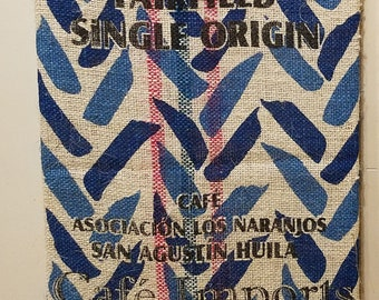 Blue Chevron Pattern (Colombia) Coffee Bag Wall Hanging