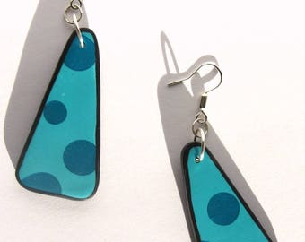 Dangling blue dot, Stud hues of gray, triangular polymer clay, two striped back