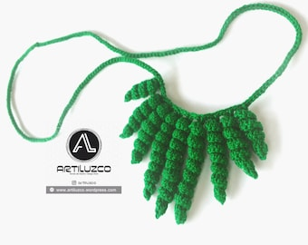 Green Rulino, Crochet necklace, Necklace in natural fibers, Handmade knitted necklace