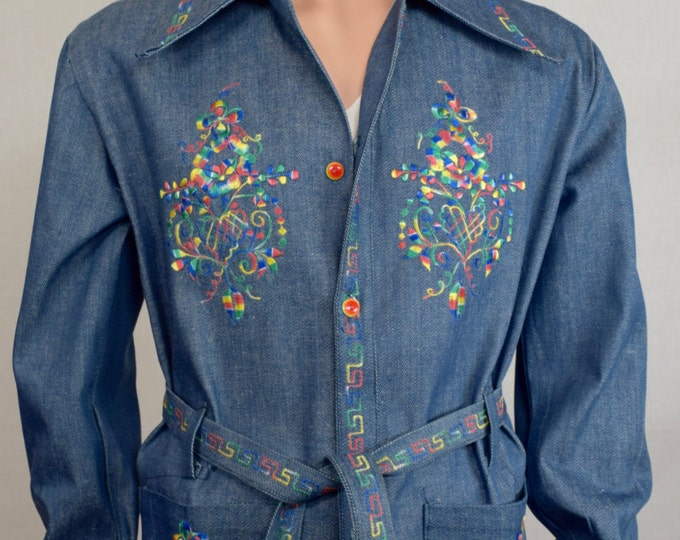 Vintage 1970's Men's Denim Mexican Rainbow Embroidered HiPPiE RoCk sTaR Jacket Size L