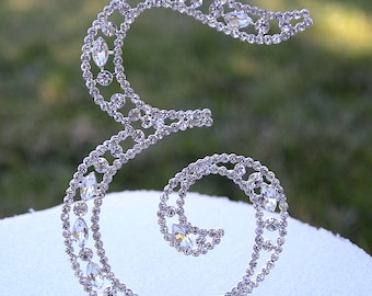 "Large 5""  Crystal Rhinestone Silver Cake Topper Letter ""E"" Monogram Wedding Birthday Party Top Initial CT040"