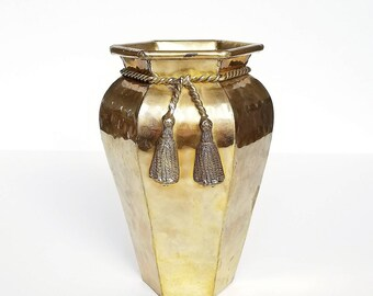 Hollywood Regency Hammered Brass Tassel Vase