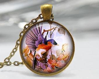 Blue Bird Pendant, Bird Art Necklace, Bird and Flower Jewelry, Bird Art Pendant, Bird Jewelry Gift, Vintage Art Pendant, Bronze, Silver, 257