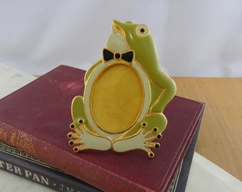 Vintage Metal Enamel Frog Photo Frame, Standing Picture Frame, Frog in a Bowtie, Novelty Photo Frame